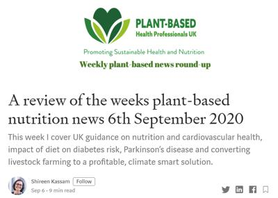 A review of the week's plant-based nutrition news 6th September 2020