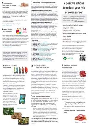 Plant based health factsheet - bowel cancer prevention
