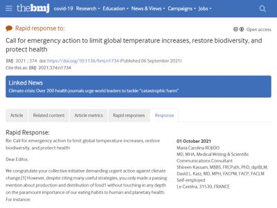 Call for emergency action to limit global temperature increases, restore biodiversity, and protect health