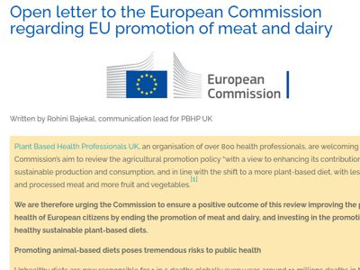 Open letter to the European parliament regarding EU promotion of meat and dairy