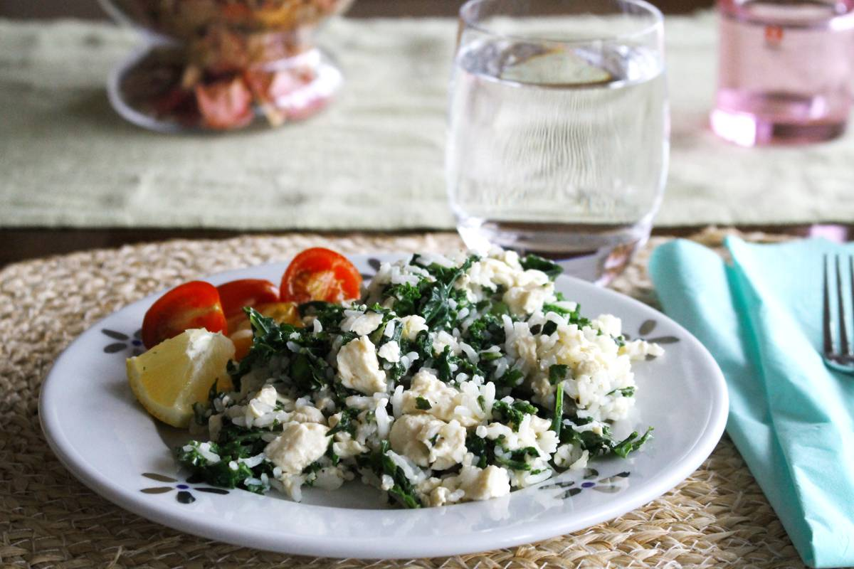 Rice and tofu scramble