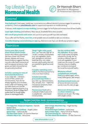 Plant based health factsheet - lifestyle tips for menopause